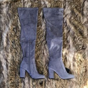 Grey over-the-knee boots
